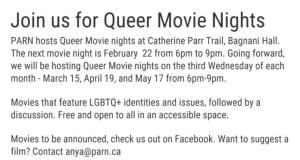 Queer Movie Night @ Bagnani Hall, Traill College, Trent U | Peterborough | Ontario | Canada
